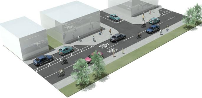 Організація сумісного руху велосипедистів та автомобілів з наявним місцем для паркування