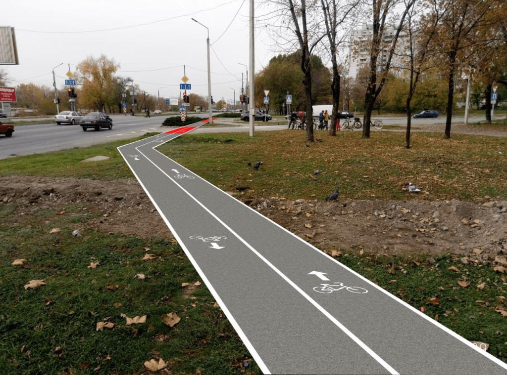 """Візуалізація майбутньої велодоріжки на Приюережній магістралі (розроблена Павлом Шадріним, """"Спільно HUB"""")"""